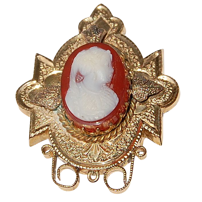 Antique Victorian Hard Stone Cameo Brooch/Watch Pin