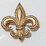Large Victorian Gold Filled Repousse Fleur D Lis Watch Pin With Safety