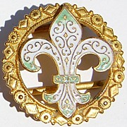 Wonderful Vintage Fleur D Lis Enameled Belt Buckle