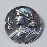 Art Nouveau Sterling Silver Joan Of Arc Brooch