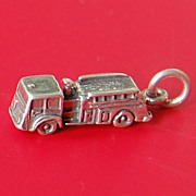 Vintage Sterling Silver Fire Truck Charm