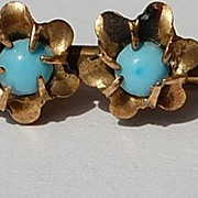 Victorian Gold Filled Turquoise Floral Pin/Brooch