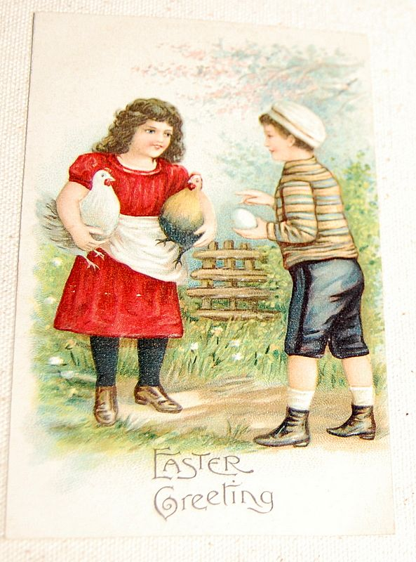 Embossed Vintage Easter Greeting Postcard