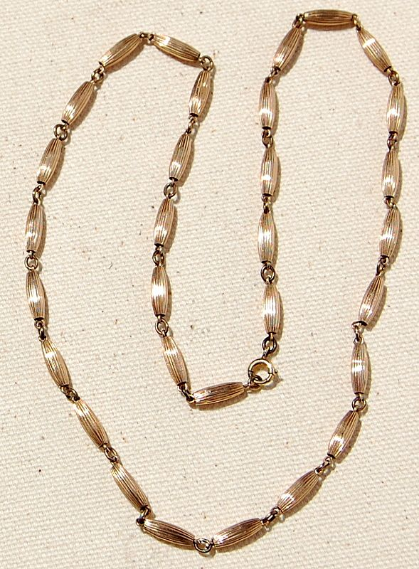 Vintage Gold Filled Ribbed Bead Necklace