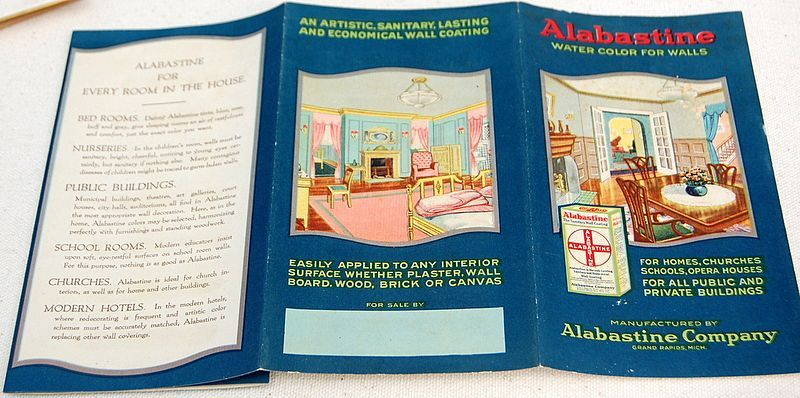 Vintage Alabastine Company Water Color For Walls Brochure
