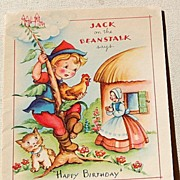 Vintage Jack On The Beanstalk Happy Birthday Card