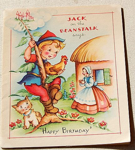 Vintage Jack On The Beanstalk Happy Birthday Card Best Kept