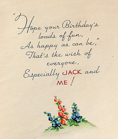 vintage jack on the beanstalk happy birthday card from, Birthday card