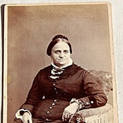 Victorian Cabinet Card Full Figure Photo Woman With Stern Face