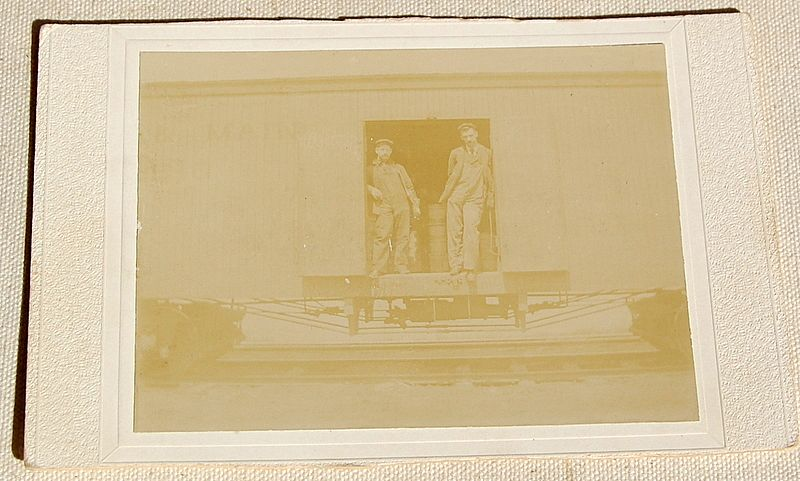 Vintage Cabinet Photo Card Two Men In Railroad Car