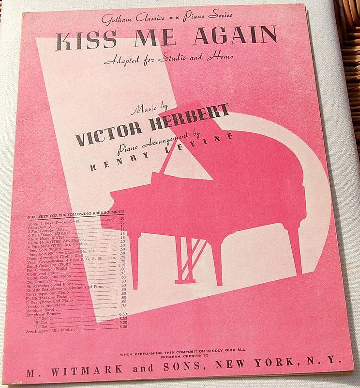 """Vintage Sheet Music """"Kiss Me Again"""""""