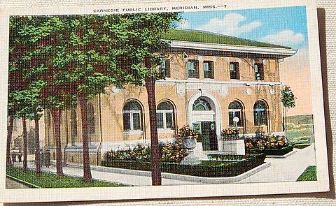 Vintage Postcard Carnegie Public Library Meridian
