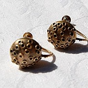 German Etruscan Revival  Screw Back Earrings