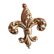 Vintage Gold Filled Repousse Fleur D Lis Watch Pin