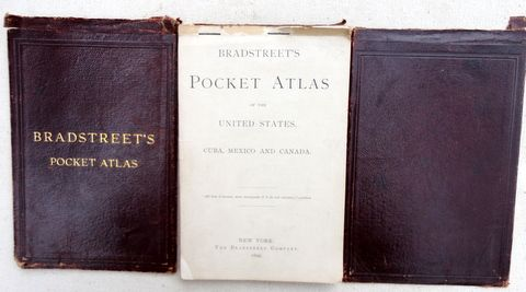 Rare 1899 Bradstreet's Pocket Atlas of US Cuba Mexico & Canada
