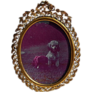19th Century Ornate Filigree French Brass Photo Frame