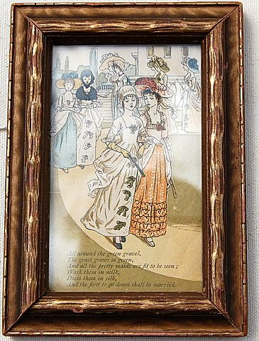 Vintage Framed Kate Greenway Illustration From Mother Goose