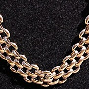 Vintage Gold Tone Metal Chunky Link Necklace