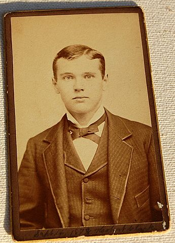Victorian Antique Cabinet Photo Handsome Young Man