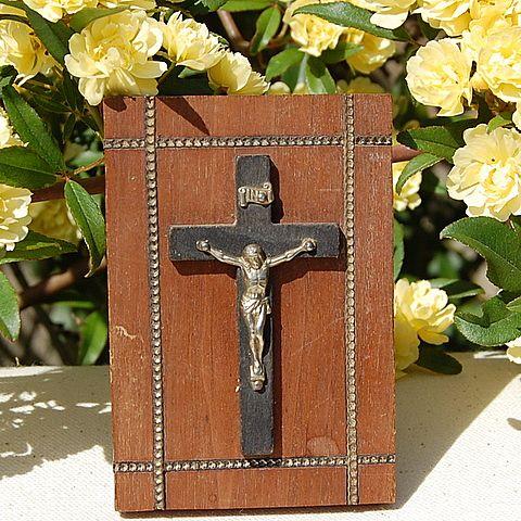Vintage Crucifix Wooden Plaque