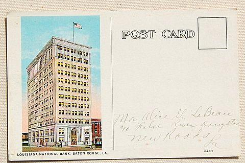1927 Louisiana National Bank Post Card Baton Rouge Louisiana