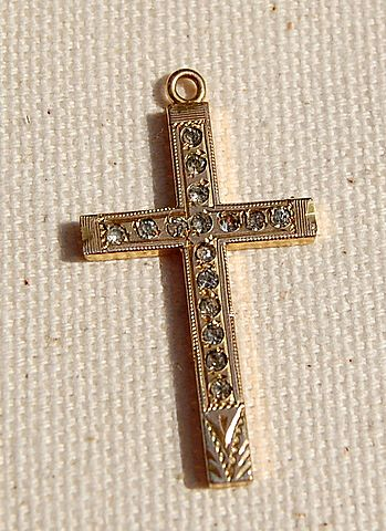 Gold Filled Rhinestone Cross Pendant