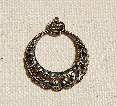 Art Deco German Sterling Silver Marcasite Pendant