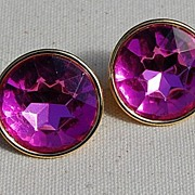 Vintage Napier Hot Pink Faceted Stone Earrings