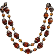 Fabulous Art Deco Czechoslovakia Faceted  Topaz Color Glass Stone Necklace
