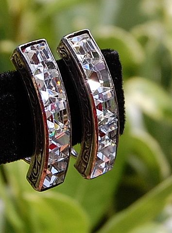 Art Deco Sterling Silver Channel Set Clear Rhinestone Earrings