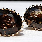 Vintage Vermeil  Smokey Quartz Earrings