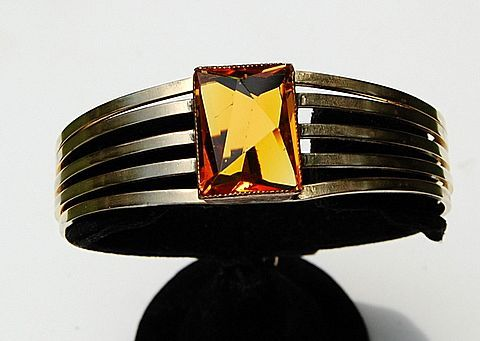 Vintage Gold Tone Metal & Topaz Paste Faceted Stone Bangle Bracelet