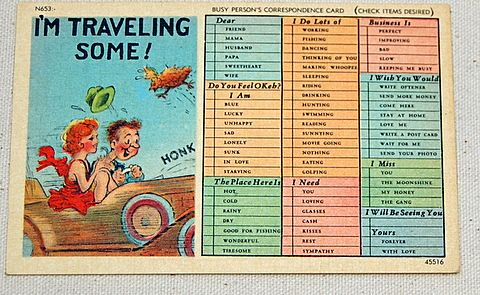 Vintage I'M Traveling Some Post Card