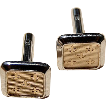 Vintage Hickok Two Tone Fleur D Lis Cuff Links