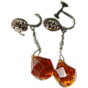 Czech Topaz Faceted Glass Screw Dangle Earrings