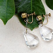 Vintage Faceted Faux Crystal Tear Drop Dangle Earrings