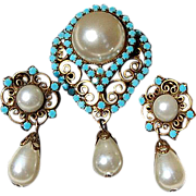 Vintage Faux Pearl & Glass Turquoise Brooch/Pendant & Clip Earring Demi Parure