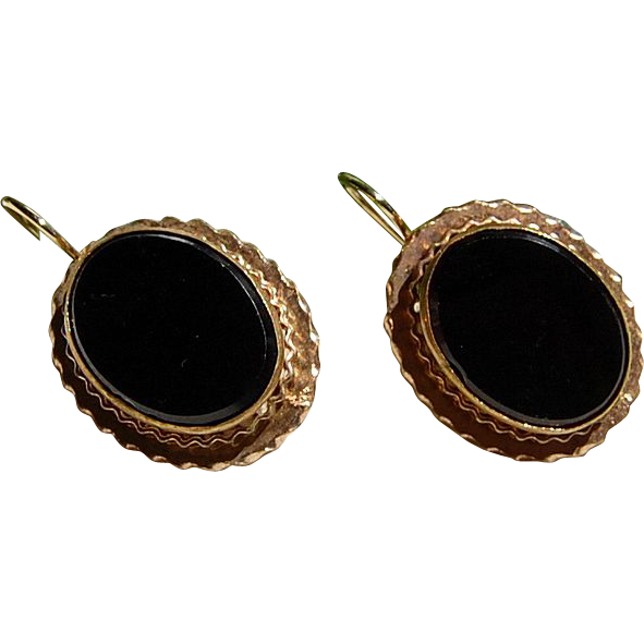 Vintage Large Oval Black Onyx Gold Earrings