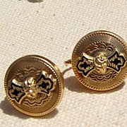 Victorian 9K Gold Black Enamel Screwback Earrings