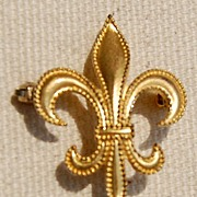 Vintage Gold Filled Beaded Fleur D Lis Watch Pin Brooch