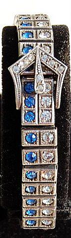 Vintage Art Deco Sterling Silver Cobalt Blue & Clear Paste Rhinestone Buckle Bracelet
