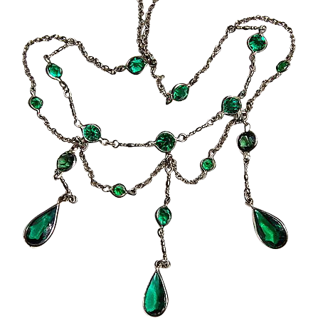 Beautiful Edwardian Emerald Green Paste Festoon Necklace
