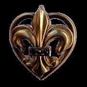 Vintage Gold Filled Fleur D Lis Heart Watch Pin Brooch