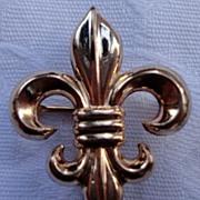 Vintage10K Gold Filled Fleur D Lis Watch Pin Brooch