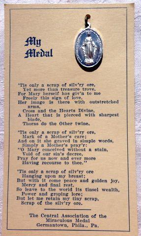 My Medal Vintage Miraculous Medal On Original Card