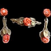 Vintage European Gold Vermeil Floral Coral Earrings And Brooch