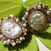 Vintage Estate Faux Cameo Faux Pearl Clip Earrings