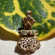 Victorian Gold Filled Black Enamel Pendant Drop