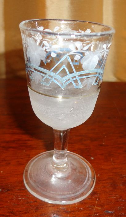 Victorian Frosted Etched Glass Sherry Or Cordial Stem