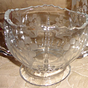 Vintage Etched Glass Sugar Bowl